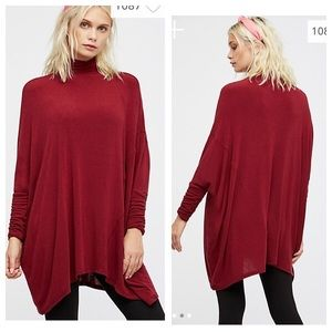 Free People Terry Oversized Tunic Top Wine Size XS